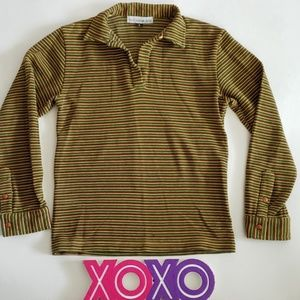 TODD OLDHAM JEANS vintage stripe long sleeve polo